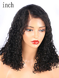 cheap -Remy Human Hair Lace Front Wig Bob style Brazilian Hair Curly Wig 130% Density with Baby Hair Natural Hairline African American Wig Unprocessed Bleached Knots Women's Short Human Hair Lace Wig EVA