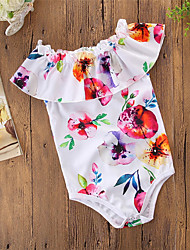 cheap -Baby Girls' Active / Basic Holiday / Going out Floral / Print Printing Sleeveless Bodysuit White / Toddler