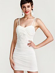 cheap -Women's Club Mini Bodycon Sheath Dress - Solid Colored Red Strap Summer White Black Red M L XL