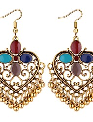 cheap -Women's Drop Earrings Long Heart Ladies Asian Vintage Ethnic Fashion Earrings Jewelry Black / Rainbow / Blue For Evening Party Birthday 1 Pair