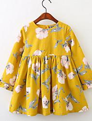 cheap -Kids Girls' Boho Floral Long Sleeve Dress Blue