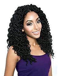 "cheap -Braiding Hair Curly Faux Locs Synthetic Hair 20 roots / pack 1 Piece Hair Braids Black 18"" Women Hot Sale Dreadlock Extensions School Date Festival African Braids"