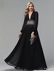 cheap -A-Line Empire Black Wedding Guest Formal Evening Dress V Neck Long Sleeve Floor Length Chiffon with Crystals 2020