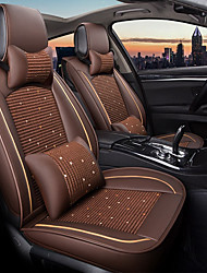 cheap -Coffee Car seat Full cover with 2 head pillows and 2 waist pads for five-seat car/PU leather and Ice silk materials/Airbag compatibility/Adjustable and removable/Family car/SUV