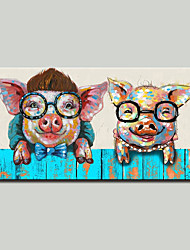 cheap -Mintura® Hand Painted Abstract Piggy Animal Oil Painting On Canvas Modern Wall Art Pictures For Home Decoration Ready To Hang With Stretched Frame