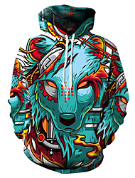 cheap -Men's Plus Size Hoodie Wolf 3D / Cartoon Print Hooded Basic / Exaggerated Long Sleeve Loose Green S M L XL XXL XXXL XXXXL XXXXXL / Fall