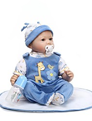 cheap -NPKCOLLECTION NPK DOLL Reborn Doll Baby 24 inch Silicone - Newborn lifelike Gift Cute Child Safe Non Toxic Kid's Unisex / Girls' Toy Gift / Artificial Implantation Blue Eyes