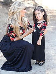 cheap -Kids Mommy and Me Basic Sweet Going out Weekend Solid Colored Floral Pleated Print Half Sleeve 3/4 Length Sleeve Maxi Maxi Dress Royal Blue