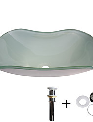 cheap -Bathroom Sink / Bathroom Mounting Ring / Bathroom Water Drain Contemporary - Tempered Glass Rectangular Vessel Sink