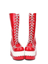 cheap -Women's Lolita Shoes Boots Princess Lolita Wedge Heel Shoes Stitching Lace 10 cm Red PU(Polyurethane) Halloween Costumes