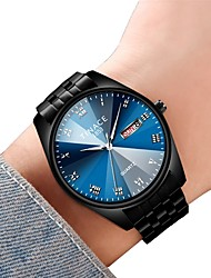 cheap -Couple's Dress Watch Quartz Ladies Water Resistant / Waterproof Analog White Black Blue / One Year / Stainless Steel / Calendar / date / day / Chronograph / Noctilucent