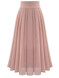 cheap -Women's Daily Basic Swing Skirts - Solid Colored Chiffon Black Blushing Pink S M L