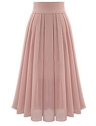 abordables -Femme Basique Quotidien Balançoire Jupes - Couleur Pleine Mousseline de Soie Noir Rose Claire S M L