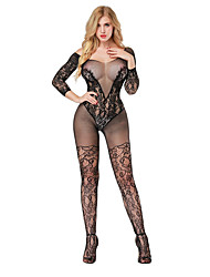 cheap -Women's Mesh Suits Nightwear Jacquard Black Red One-Size