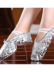 cheap -Girls' Dance Shoes Faux Leather Ballet Shoes Flat Gold Plated Transparent Heel Customizable Gold / Silver / Performance