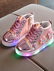 cheap -Girls' LED / Bootie / LED Shoes PU Boots Toddler(9m-4ys) / Little Kids(4-7ys) Chain / Lace-up / LED Pink / Gold / Silver Spring &  Fall / Spring & Summer / Booties / Ankle Boots