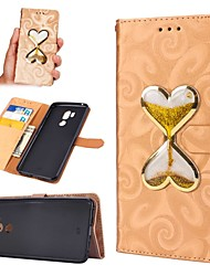 cheap -Case For LG LG G7 Wallet / Card Holder / Flowing Liquid Full Body Cases Heart Hard PU Leather
