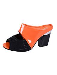 cheap -Women's Sandals Chunky Heel PU Slingback Summer Black / Orange / Beige / EU39