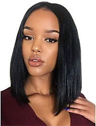 cheap -Synthetic Wig / Synthetic Lace Front Wig Straight Kardashian Style Short Bob Lace Front Wig Black Natural Black Dark Brown Synthetic Hair Women's Soft / Adjustable / Heat Resistant Black Wig Short
