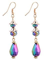 cheap -Women's Synthetic Tanzanite Drop Earrings Chandelier Long 3 stone Drop Ladies Vintage Fashion Elegant Earrings Jewelry Yellow / Rainbow / Blue For Party / Evening School 1 Pair
