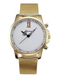Недорогие -Для пары Наручные часы Кварцевый Нержавеющая сталь Золотистый Секундомер Повседневные часы Милый Аналоговый Дамы Кольцеобразный Элегантный стиль - Золотой Белый Один год Срок службы батареи