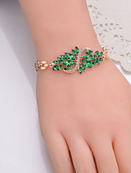 cheap -Women's Cubic Zirconia Bracelet Bangles Thick Chain Wings Ladies Stylish Classic Alloy Bracelet Jewelry Black / Red / Green For Daily