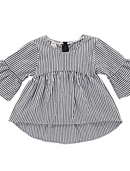 cheap -Baby Girls' Basic Daily Black & White Striped Print Long Sleeve Regular Above Knee Cotton Dress Black