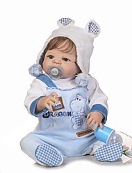 cheap -NPKCOLLECTION 24 inch NPK DOLL Reborn Doll Baby Boy Reborn Toddler Doll lifelike Gift Child Safe Non Toxic Artificial Implantation Blue Eyes Full Body Silicone with Clothes and Accessories for Girls