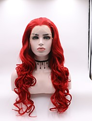 cheap -Synthetic Lace Front Wig Mera Body Wave Lace Front Wig Long Watermelon Red Synthetic Hair 20-24 inch Women's Curler & straightener Red Skyworth