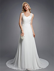 cheap -A-Line V Neck Floor Length Chiffon / Lace Regular Straps Sexy Wedding Dresses with Beading / Appliques / Button 2020 / Beautiful Back