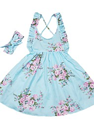 cheap -Kids Girls' Active Boho Daily Going out Floral Print Sleeveless Knee-length Dress Light Blue / Cotton