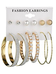 cheap -Women's Pearl Stud Earrings Hoop Earrings Machete Ball Donuts Ladies Classic Fashion Imitation Pearl Earrings Jewelry Gold / Silver For Daily 6 Pairs