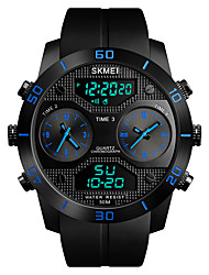 cheap -SKMEI Men's Sport Watch Military Watch Japanese Digital 50 m Water Resistant / Water Proof Alarm Chronograph PU Band Analog-Digital Casual Fashion Black - Black Red Blue One Year Battery Life