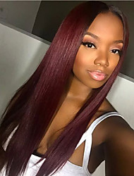 cheap -Remy Human Hair Lace Front Wig Layered Haircut Minaj style Brazilian Hair Straight Burgundy Two Tone Wig 130% Density with Baby Hair Ombre Hair Dark Roots Women's Short Medium Length Long Human Hair