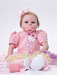 cheap -FeelWind Reborn Doll Girl Doll Baby Girl 22 inch Newborn lifelike Eco-friendly Cute Child Safe Non Toxic Kid's Girls' Toy Gift / Hand Applied Eyelashes / Parent-Child Interaction