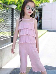 cheap -Kids Girls' Street chic Daily Going out Patchwork Patchwork Sleeveless Regular Clothing Set Blushing Pink