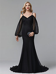 cheap -Mermaid / Trumpet Spaghetti Strap Court Train Chiffon / Lace Elegant / Celebrity Style Formal Evening Dress 2020 with Appliques / Pleats