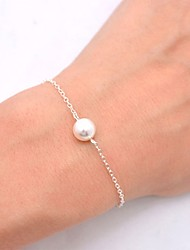 cheap -Women's Pearl Chain Bracelet Solitaire Dainty Ladies Simple Vintage Fashion Imitation Pearl Bracelet Jewelry Gold / Silver For Daily Going out