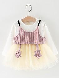 cheap -Baby Girls' Basic Color Block Long Sleeve Cotton Dress Blushing Pink / Toddler
