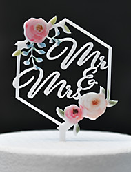 cheap -Cake Topper Classic Theme / Wedding Cut Out Acryic / Polyester Wedding / Anniversary with Acrylic 1 pcs PVC Box