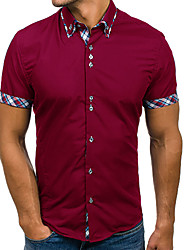 cheap -Men's Daily Basic Shirt - Solid Colored Wine / Short Sleeve
