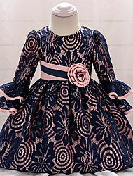 cheap -Baby Girls' Vintage Going out Birthday Solid Colored 3/4 Length Sleeve Knee-length Dress Navy Blue