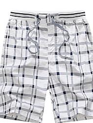cheap -Beach Board Men's Basic Plus Size Daily Shorts Pants - Check Fall Navy Blue Yellow Light Blue XXL XXXL XXXXL