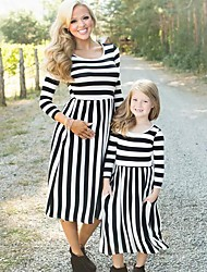 cheap -Kids Mommy and Me Basic Sweet Going out Weekend Striped Print 3/4 Length Sleeve Regular Midi Dress Black