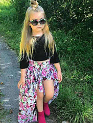 cheap -Baby Girls' Casual / Active Holiday / Going out Solid Colored / Floral Print Half Sleeve Regular Clothing Set Black / Toddler