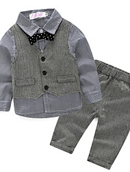 cheap -Baby Boys' Basic Daily Solid Colored Long Sleeve Regular Clothing Set Gray / Toddler