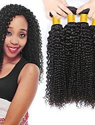 cheap -4 Bundles Brazilian Hair Curly Human Hair Natural Color Hair Weaves / Hair Bulk Human Hair Extensions 8-28 inch Natural Color Human Hair Weaves Best Quality New Arrival For Black Women Human Hair
