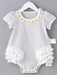 cheap -Baby Girls' Basic Striped Flower / Printing Short Sleeves Cotton Bodysuit White