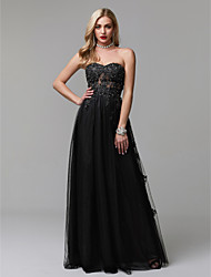 cheap -A-Line Sparkle & Shine Prom Formal Evening Dress Sweetheart Neckline Sleeveless Floor Length Lace Tulle with Beading Appliques 2020