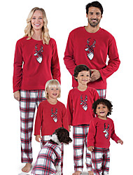 cheap -Toddler Family Look Active Basic Daily Weekend Solid Colored Color Block Print Long Sleeve Regular Regular Clothing Set Red